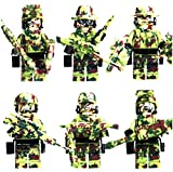 特殊部隊 アーミー 軍隊 迷彩カラー camo ミニフィグ ブロック 6体重火器セット MODERN WAR [正規品]