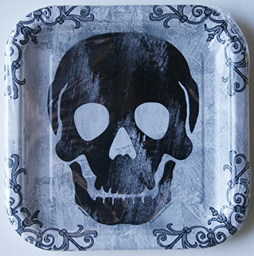 "Halloween Black and White 7""x7"" Square Dessert Plates (10 Per Pkg)"