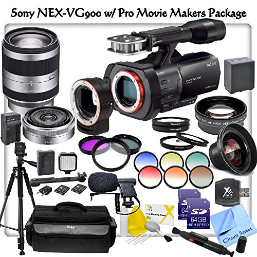 Sony Nex-Vg900 Full-Frame Interchangeable Lens Camcorder With Pro Movie Makers Package: Includes Sony 18-200Mm Lens, Sony 16Mm F/2.8 Lens, High Definition Wide Angle Lens, Telephoto Hd Lens, 3 Piece High Resolution Filter Kit, 4 Piece Macro Close-Up Set,