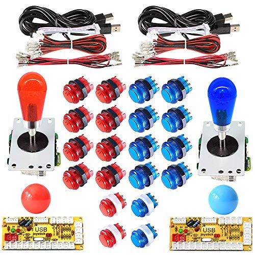 Arcity 2 Player Arcade LED Buttons and Joystick Kits Illuminated DIY Controller USB Encoder to PC Games 8 Ways Joystick Bat Top + 10 LED Push Buttons + Balltop for Windows Jamma MAME Raspberry Pi New (Color: Red and Blue)