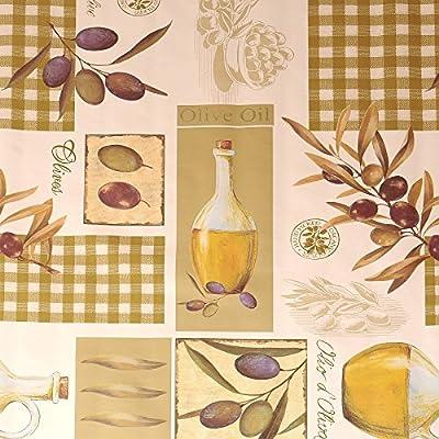 """Wachstuch Tischdecke Wachstischdecke Gartentischdecke, Abwaschbar Meterware,""""Mediterran"""", Oliven Muster Grün Weiß (265-02) von MODERNO - Gartenmöbel von Du und Dein Garten"""