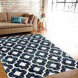 Modern Moraccan Trellis Blue Soft Area Rug 5\'3\