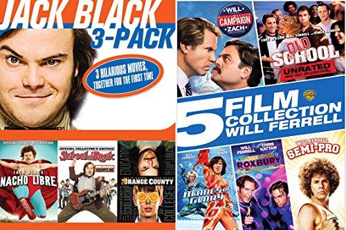 Will Ferrel & Jack Black Collection Comedy DVD set Old School + Semi-Pro & Blades of Glory / School of Rock / Nacho Libre 8 Movies