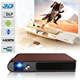 2018 Android 5.1 Pico Bluetooth Wireless Projector DLP Tech, 300 ANSI Lumen, Auto Keystone ±40, 8400 mAh Battery HDMI USB Outdoor Moives Projector Home Theater 1280x720,Special Leather Cloak Cover (Color: 2018 Pico 3D Bluetooth DLP Projector-300 ANSI)