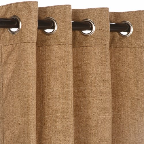 Sunbrella Outdoor Curtain with Nickle Grommets - Linen Sesame, 50x84 picture