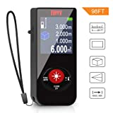 Tyrry Laser Measure, World's Smallest Rechargeable Laser Distance Meter with LCD Backlit Mute Function, Single-distance Measurement/Continuous Measurement/Area/ Volume/Pythagorean Modes(98FT/30M)