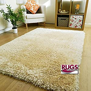 Thick Silky Soft Hand Tufted Shaggy Rug High Quality 6cm Pile (60x120cm) (oyster Cream Mix) by RUGS SUPERSTORE