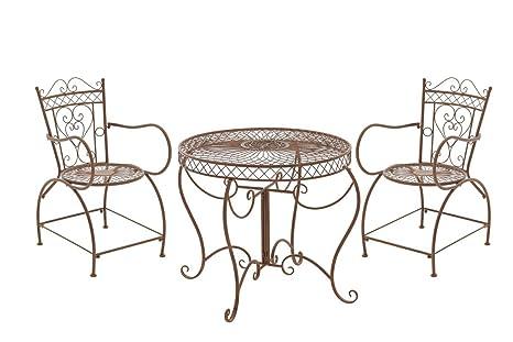 Muebles de jardín conjunto imagetech antiguo Sheela, Ø mesa: 88 cm, marrón envejecido