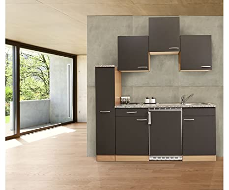 Respekta Kitchen Unit Grey / Beech / 180 cm / 150 cm + 30 cm Pull-Out Larder