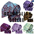 H6041 Purple Paisleys Cheap For Presents Silk Ties Cufflinks Hanky Husband Gift Set 3PT By Y&G