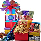 Art of Appreciation Gift Baskets   Happy Birthday Surprise! Gourmet Snacks Tower