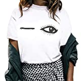 Boomboom Summer Women Juniors Girls Casual Crewneck Tops Eyes Print Shirts Blouse (White,XS) (Color: White, Tamaño: X-Small)