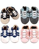 MiniFeet Chaussures bébé en cuir souple, Bébé Chaussure de Sport 0-6, 6-12, 12-18, 18-24 Mois et 18-24 ans