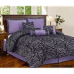 7 Piece Light Purple Black Zebra Micro Fur Comforter set Full Size Bedding - Teen, Girl, youth, Tween, Children's Room, Master Bedroom, Guest Room