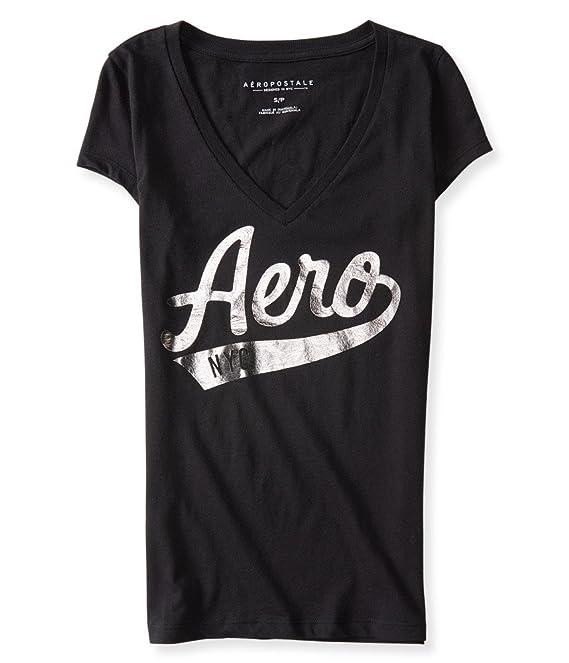 Aeropostale Women's Aero Nyc V-Neck Logo Graphic T Shirt
