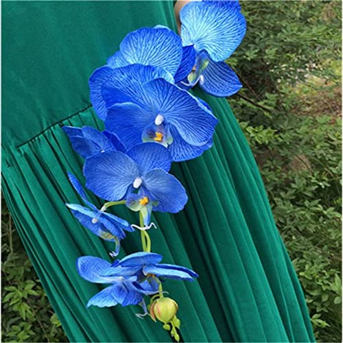 10pcs Artificial Phalaenopsis Butterfly Moth Orchid Fake Orchids Flower for Wedding Centerpieces Decorative Artificial Flowers (blue)