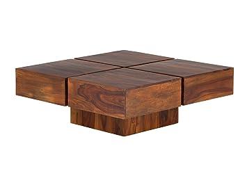 massivum Couchtisch Cube 80x30x80 cm Palisander braun lackiert