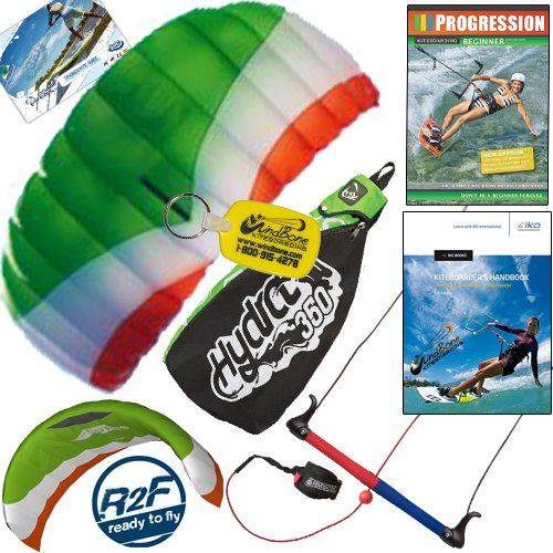 HQ Hydra II 350 V2 Kiteboarding Trainer Kite Bundle : Including Progression Beginner Kitesurfing Instructional DVD + IKO Student Handbook + WindBone Kiteboarding Key Chain : Power Foil Traction Land Snow Water Kiting (Power Kiting compare prices)