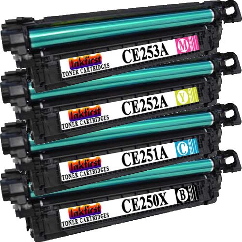 1 Set of 4 Toner Cartridges CE250X CE251A CE252A CE253A Compatible Remanufactured for HP CP3525N Black, Cyan, Magenta, Yellow