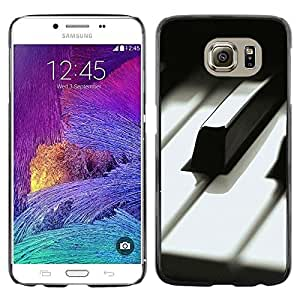 Omega Covers - Snap on Hard Back Case Cover Shell FOR Samsung Galaxy S6 - Music Black White Keys Musician