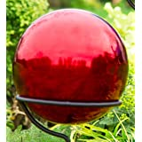 Plow & Hearth Weather Resistant Stainless Steel Garden Gazing Ball 10 IN Dia. Red