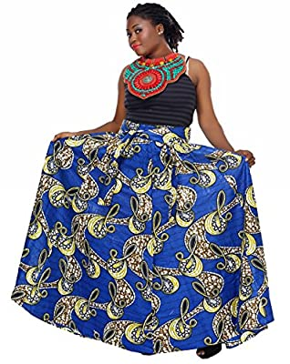 African Planet Women's Trees Wax Skirt Nigerian Inspired Elastic Waist Maxi