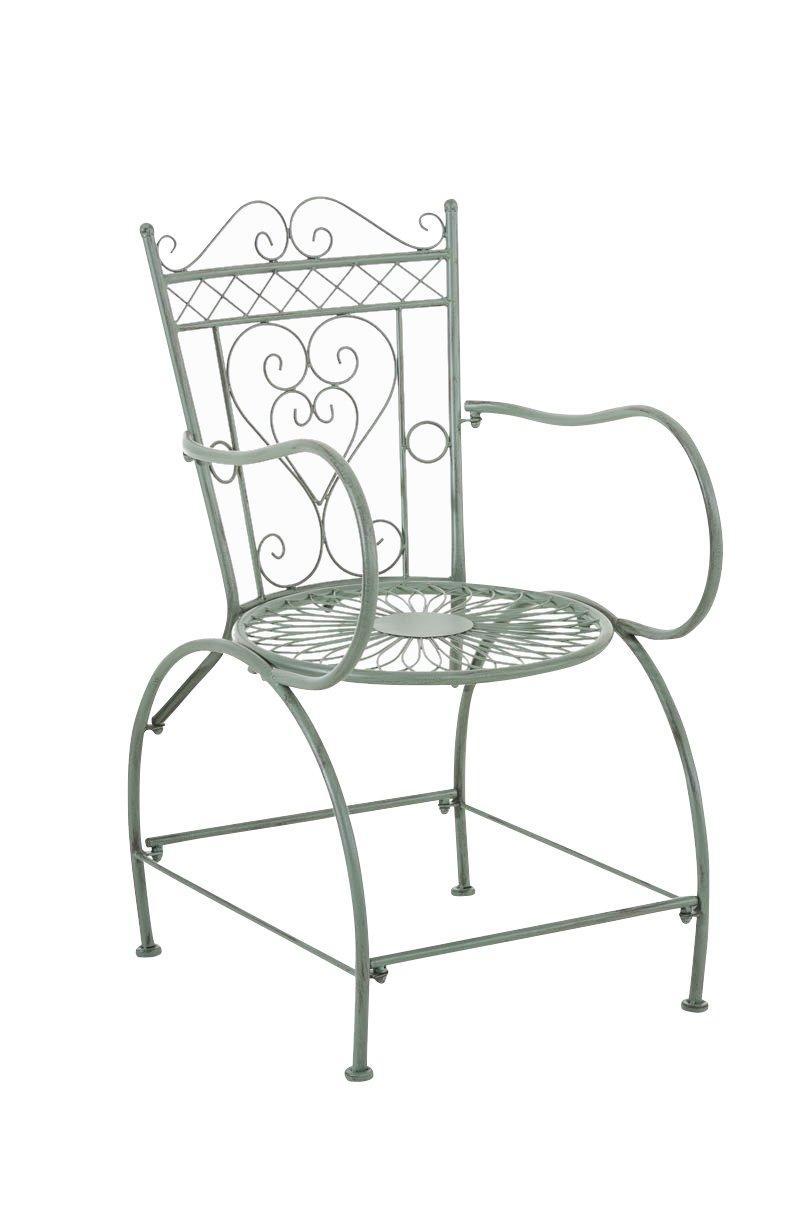 CLP nostalgischer Stuhl SHEELA aus Eisen (aus bis zu 6 Farben wählen) antik grün
