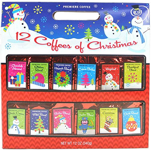 Premiere Brand Coffees of Christmas Gift Set, 12 Flavors