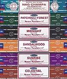 Satya - Set of 6 Nag Champa, Sunrise, Sandalwood, Midnight, Patchouli-Forest, Celestial 15g