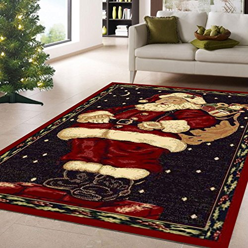 Santa Claus Christmas Holiday Christmas Rug 3ft4in X 4ft6in + Free Shipping