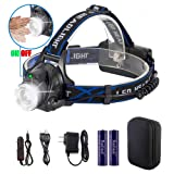 Reiled Super Bright LED Headlamp with PIR Sensor Switch - ON/Off by Gesture, Rechargeable, Adjustable, Waterproof, Lightweight Wearing Comfortable for Cycling, Camping, Hiking, Fishing, Hunting, etc (Color: Style 1)
