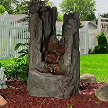 Sunnydaze Rock Cavern Falls Fountain with LED Lights 38 Inch Tall