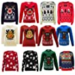 NEW KIDS CHILDREN BOY GIRL KNITTED CHRISTMAS REINDEER RUDOLPH JUMPER RED SANTA TREE AGE 3-13 YEARS (5-6, Navy)