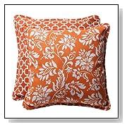 Orange Decorative Floral Toss Pillows
