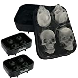 Stritra - 3D Skull Ice Mold (Pack of 2) Easy Release Silicone Mold,8 Cute and Funny Ice Skull for Whiskey,Cocktails and Juice Beverages,Black (Tamaño: 2Pack Skull Mold)
