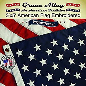 American Flag: 100% American Made - Embroidered Stars and Sewn Stripes - 3 x 5 ft