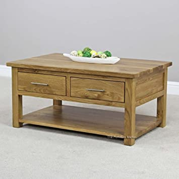 New London Solid Oak 2 Drawer Coffee Table