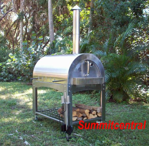 Wood Fired Pizza Oven/Roaster Stainless Steel Commercial Brick Smoker Bread BBQ W/Accessories