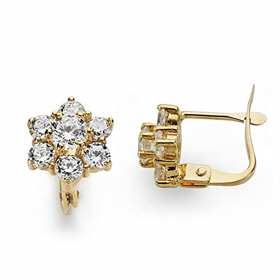 18k gold earrings 10mm rennet zircons. Leverback [AA2625]