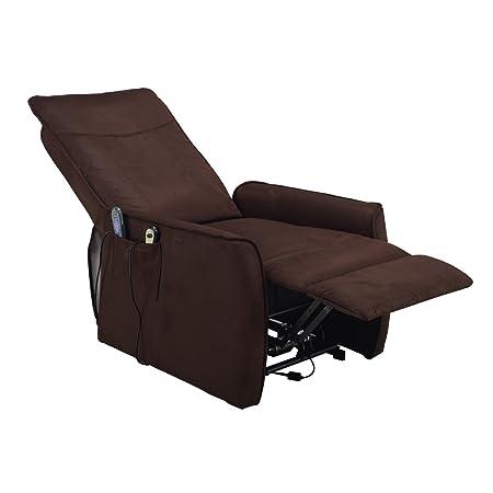 Shiatsu Massage Fernsehsessel elektr. Relaxsessel Mikrofaser dunkelbraun
