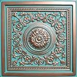 """Majesty Antique Copper Patina (24x24"""" Pvc) Ceiling Tile"""