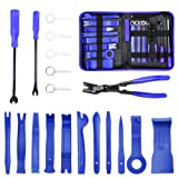 MICTUNING 19Pcs Auto Audio Trim Removal Tool Set & Clip Plier Upholstery Fastener Remover Nylon Dash Door Panel Stereo Tool Kits (Blue) (Color: Blue)