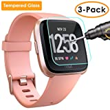 QIBOX Screen Protector Compatible Fitbit Versa, 3 Pack Waterproof Tempered Glass Screen Protector Compatible Fitbit Versa Smart Fitness Watch Tracker [Ultra Clear/Scratch Resistant/Anti-Bubble] (Color: 3 Packs Fitbit Versa Screen Protector(Glass), Tamaño: Fitbit Versa Smart Fitness Watch Tracker)