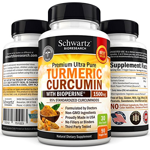 Turmeric Curcumin with Bioperine® 1500mg 95% Standardized Curcuminoids. Non-GMO, Gluten Free Turmeric Capsules Extra Strength Highest Potency Available Turmeric Pills with Black Pepper Made in the USA