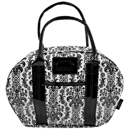 Two Lumps of Sugar Damask Black and White Bowler Lunch Bag - 1