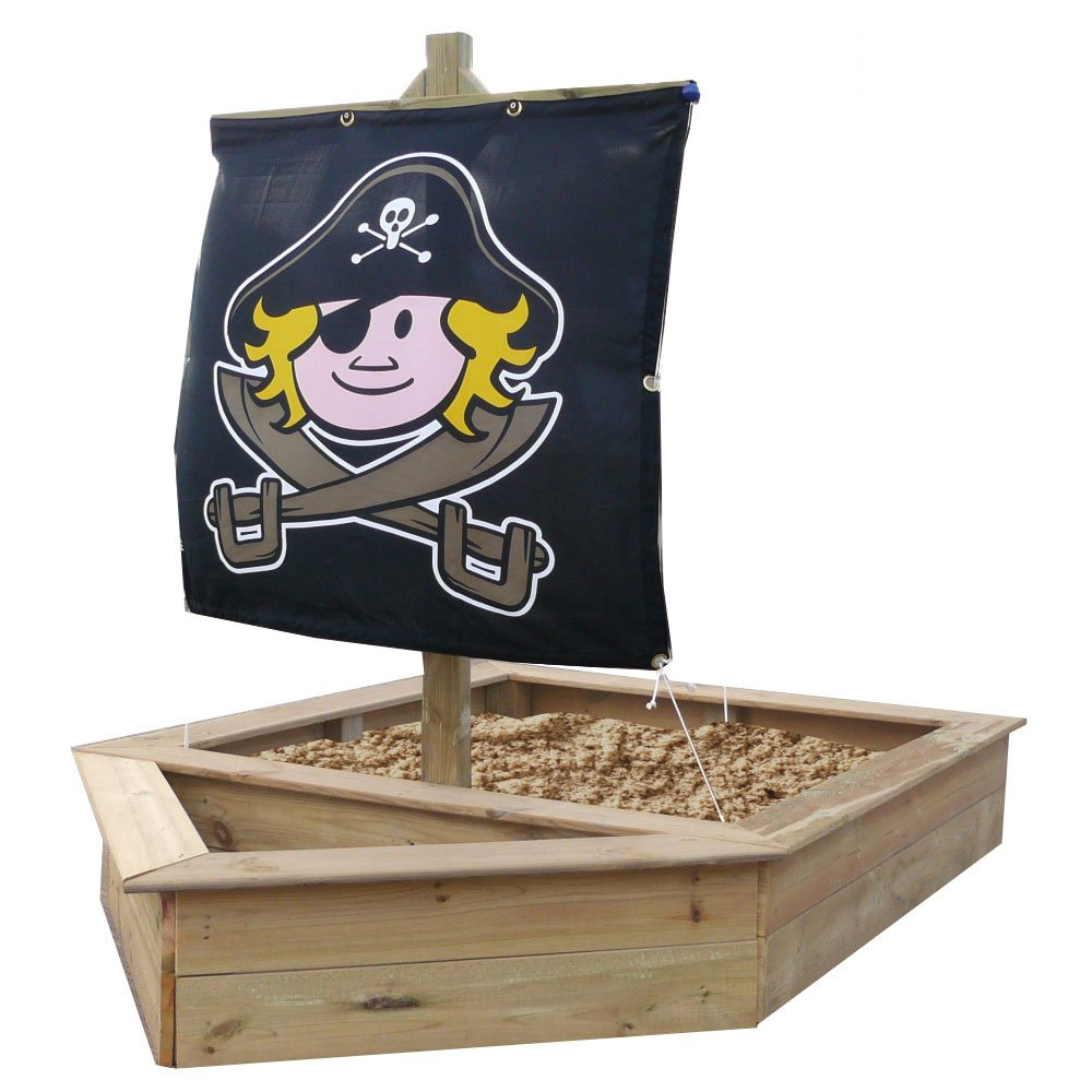 WICKEY Sandkasten Schiff 140x230cm coole Sandkiste mit Segel kaufen