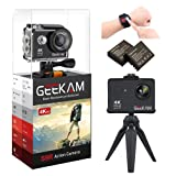 GeeKam Action Camera 4K WiFi Ultra HD Underwater 30M Waterproof 170° Wide Angle Lens Sports Camcorder with Remote Control 2 Rechargeable Batteries and Mounting Accessories Kit (Color: Black, Tamaño: S9R)