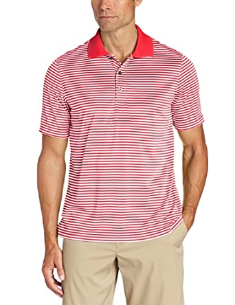 IZOD Men's Feeder Stripes Golf Performance Polo Shirt, Lollipop Red, Small
