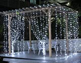 Curtain Lights, SurLight 9.8ft*9.8ft 304LEDs Window Icicle Lights with 8...