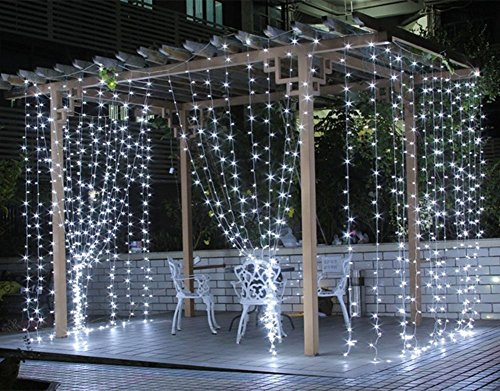 Curtain Lights, SurLight 9.8ft*9.8ft 304LEDs Window Icicle Lights with 8 Lighting Modes, Christmas LED String Fairy Wedding Light for Valentine's Day Holiday Wedding Xmas Party Wall Window, Cool White Furniture